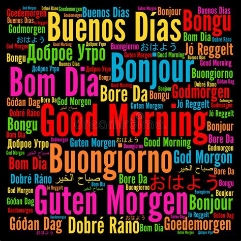 Good Morning In Different Languages Stock Illustration